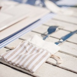 Sachet à dragées rayé blanc et beige par 5