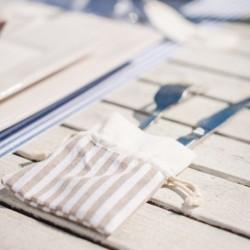Sachet à dragées rayé blanc et beige