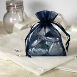 Sachet à dragées organdi bleu Marine par 10