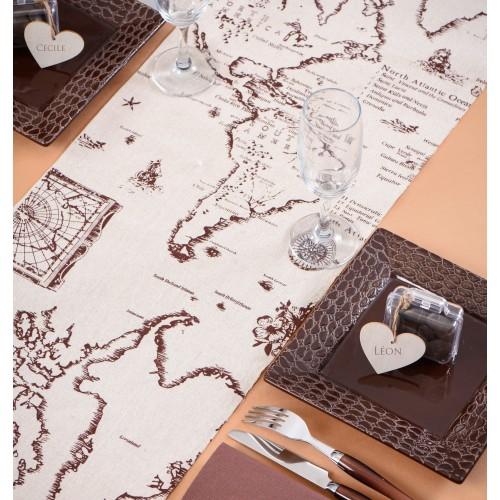 chemin de table th me voyage les couleurs du mariage. Black Bedroom Furniture Sets. Home Design Ideas