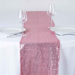 Chemin de table sequin rose