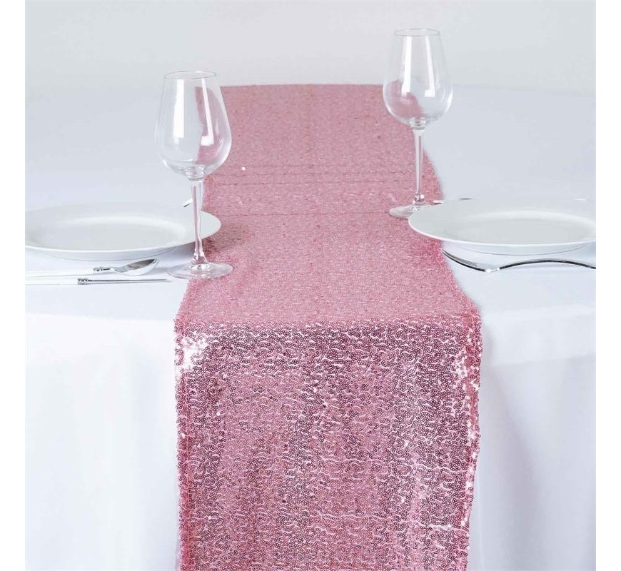 chemin de table mariage sequin rose les couleurs du. Black Bedroom Furniture Sets. Home Design Ideas