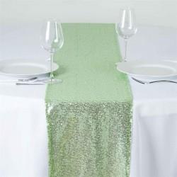 Chemin de table sequin vert thé