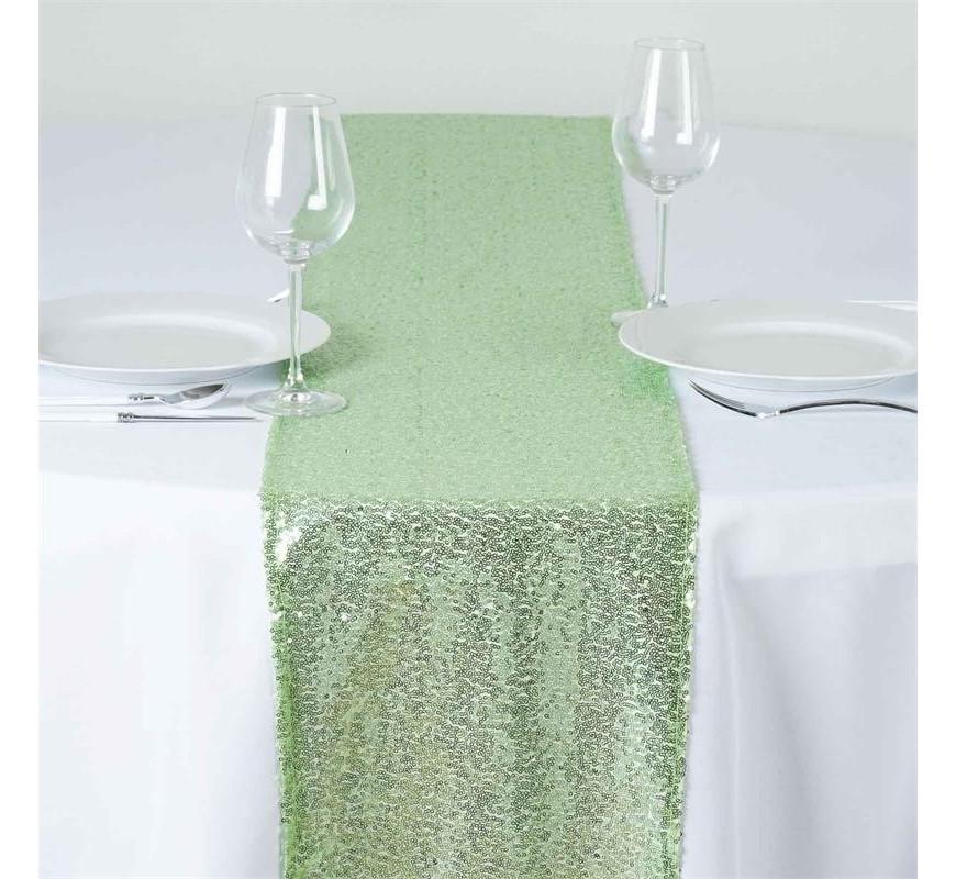 chemin de table sequin vert th les couleurs du mariage mariage et r ception. Black Bedroom Furniture Sets. Home Design Ideas
