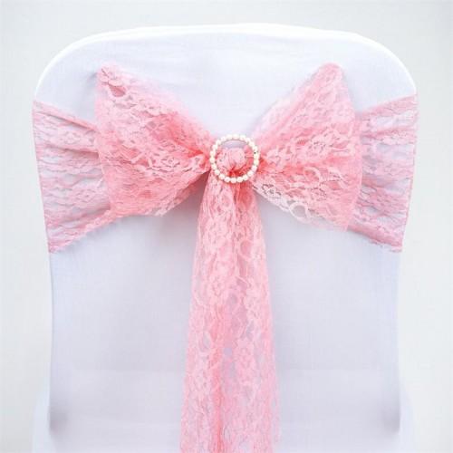 Noeud de chaise en dentelle rose quartz