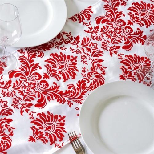 Chemin de table baroque rouge et blanc
