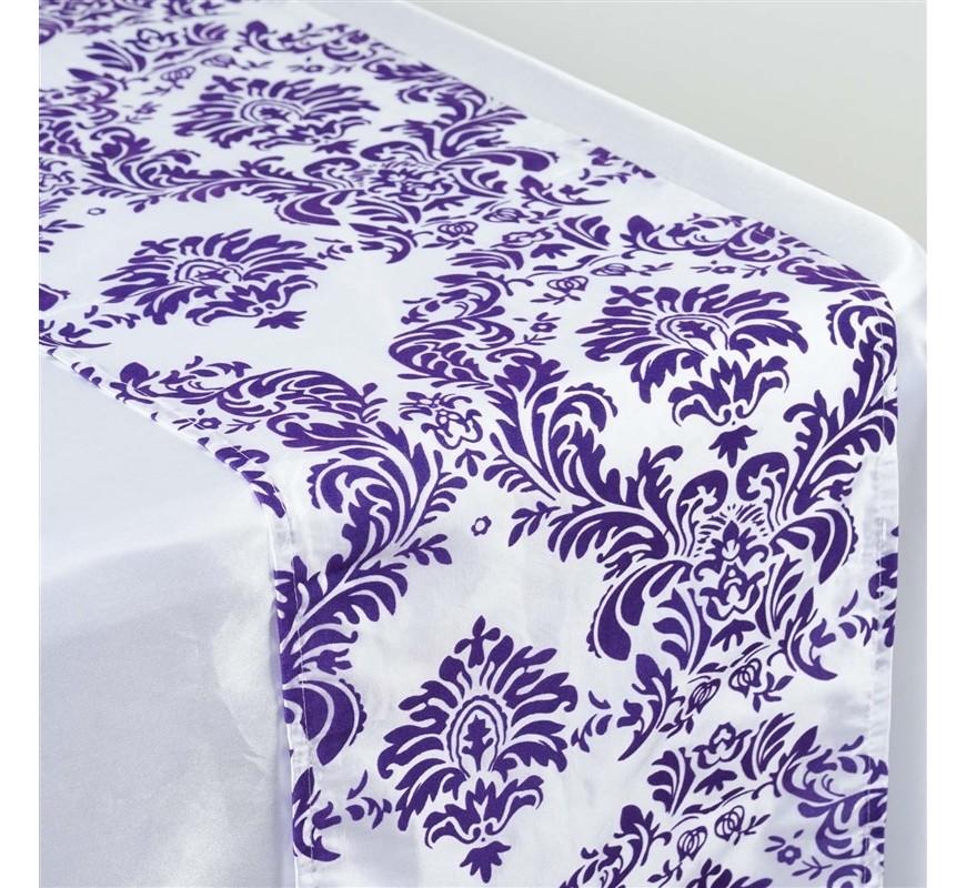 Chemin de table baroque violet et blanc les couleurs du for Chemin de table blanc