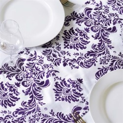 Chemin de table baroque violet et blanc