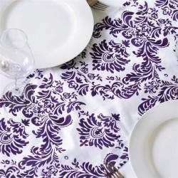 Chemin de table baroque violet et blanc
