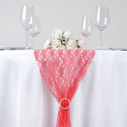 Chemin de table en dentelle corail