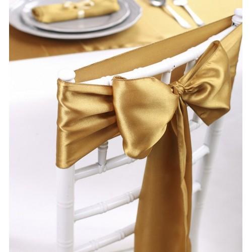 Noeud de chaise mariage satin or les couleurs du mariage mariage et r ception - Noeud pour chaise de mariage ...