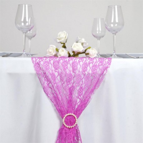 Chemin de table en dentelle rose fuschia