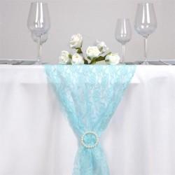 Chemin de table en dentelle bleu turquoise