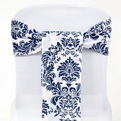 Noeud de chaise arabesque bleu marine et blanc