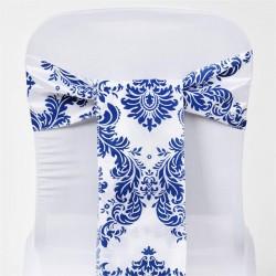 Noeud de chaise mariage baroque bleu et blanc