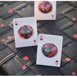 Carte à jouer porte dragées avec boule transparente
