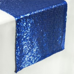 Chemin de table sequin bleu roi