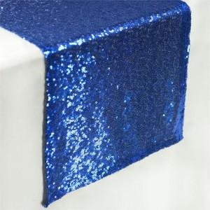 Chemin de table sequin bleu roi