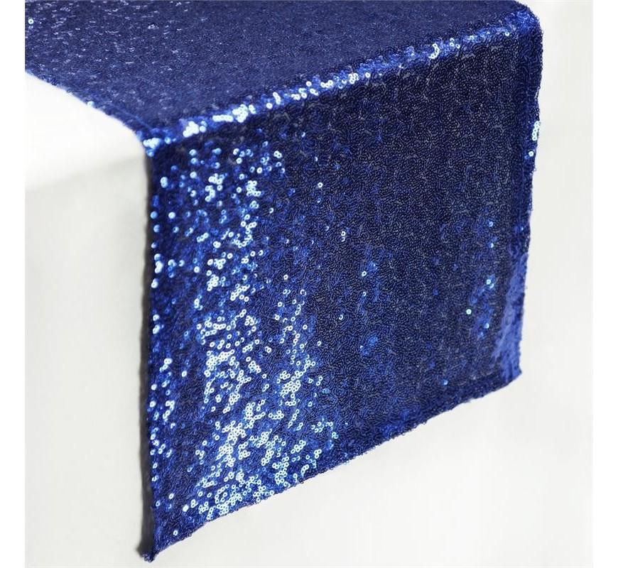 Chemin De Table Mariage Sequin Bleu Marine Les Couleurs