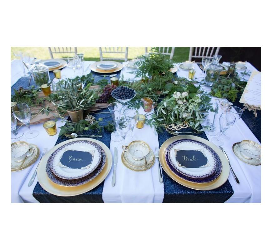chemin de table mariage sequin bleu marine les couleurs du mariage mariage et r ception. Black Bedroom Furniture Sets. Home Design Ideas