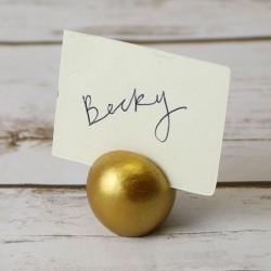 Porte étiquette boule or