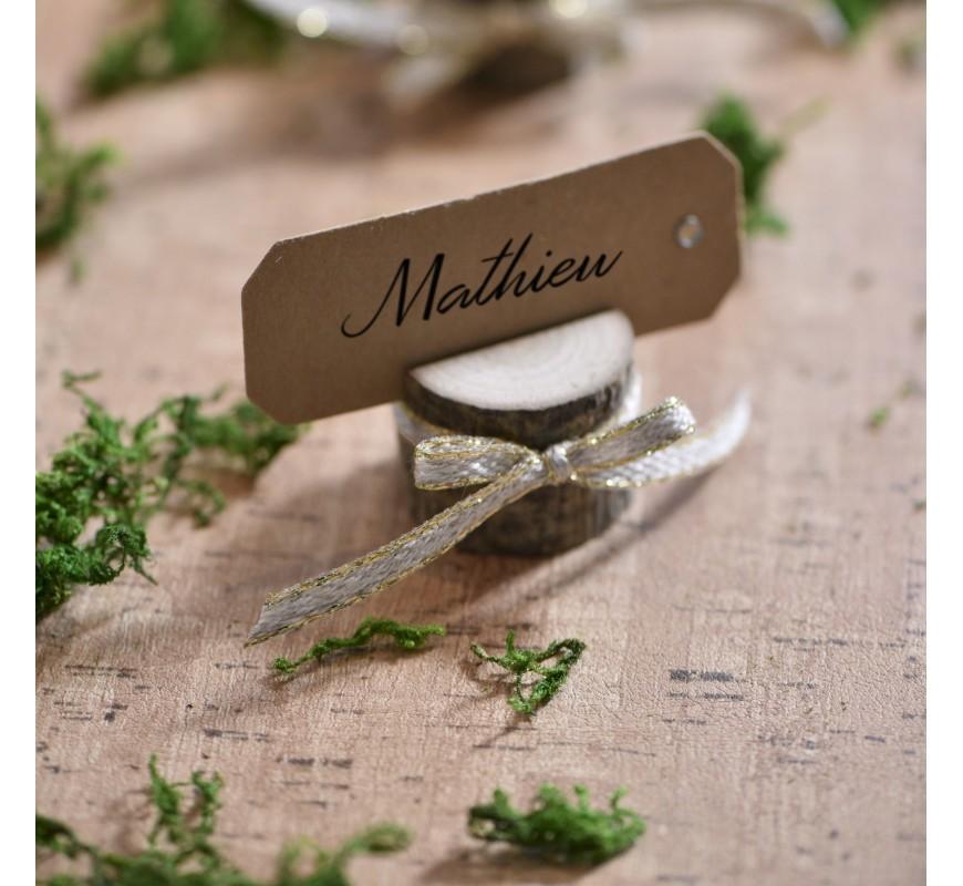 Marque place rondin de bois les couleurs du mariage - Rondin de bois mariage ...