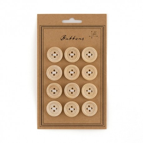 Petit Bouton en bois décoratif x 12