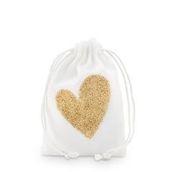 Sachet à dragées coeur paillette or
