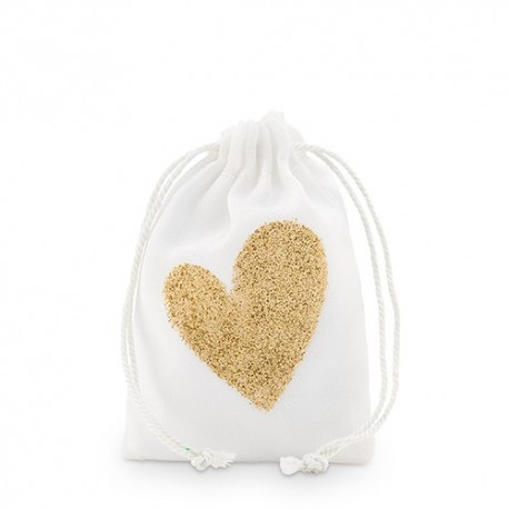 Sachet à dragées coeur paillette or