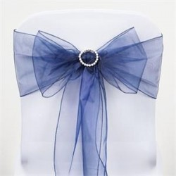 Noeud de chaise organza bleu marine
