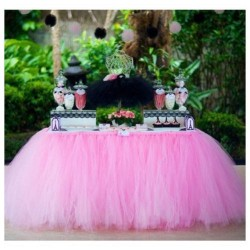 Jupe de table en tulle rose