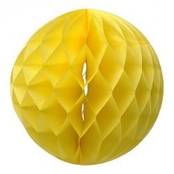 Boule en papier alvéolée jaune 30 cm