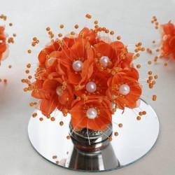 Bouquet de fleurs en tissu orange