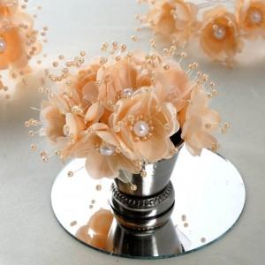 Bouquet de fleurs en tissu pèche