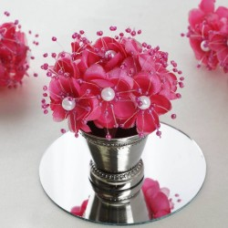 Bouquet de fleurs en tissu rose fuchsia