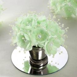 Bouquet de fleurs en tissu menthe