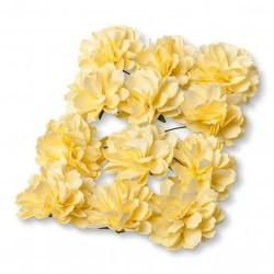 Pivoine en papier jaune par 12
