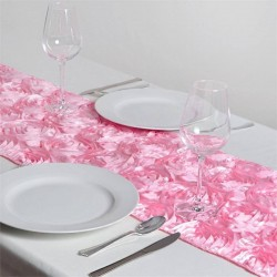 Chemin de table rosette rose pale