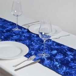 Chemin de table rosette bleu roi