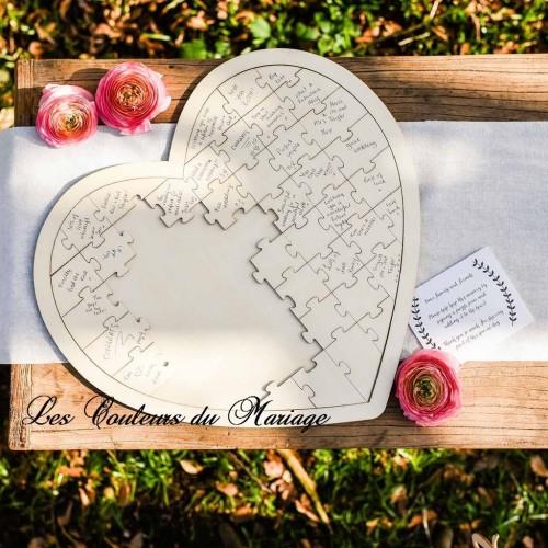 livre d 39 or puzzle coeur en bois les couleurs du mariage mariage et r ception. Black Bedroom Furniture Sets. Home Design Ideas