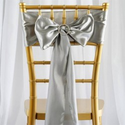 Noeud de chaise mariage satin argent