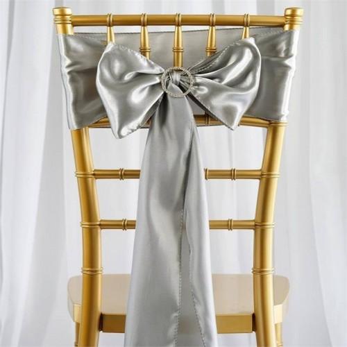 Noeud de chaise mariage satin gris les couleurs du - Noeuds de chaise mariage ...