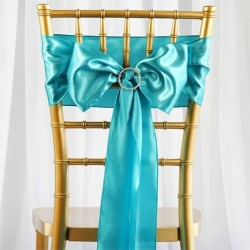 Noeud de chaise mariage satin turquoise