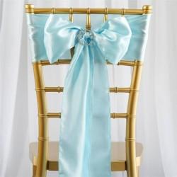 Noeud de chaise mariage satin bleu
