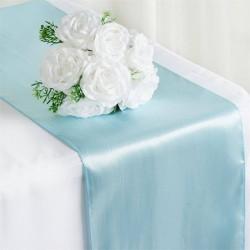 Chemin de table mariage satin bleu