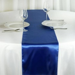 Chemin de table satin bleu roi