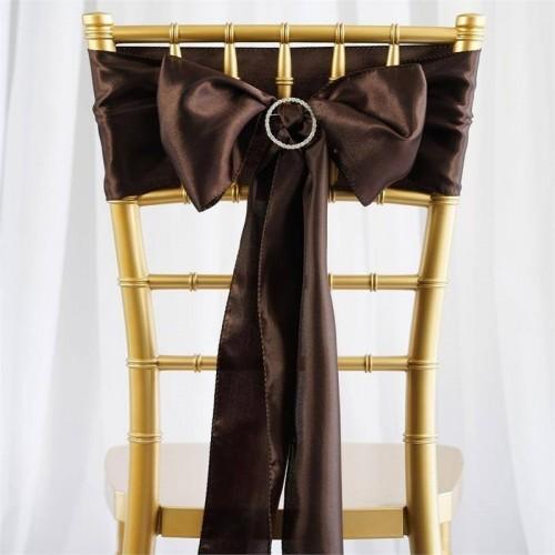 Noeud de chaise satin chocolat les couleurs du mariage mariage et r ception - Noeud de chaise en satin ...
