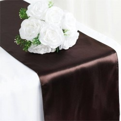 Chemin de table satin chocolat