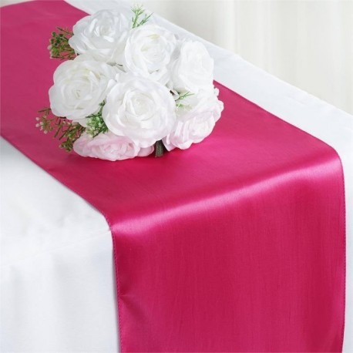Chemin de table satin rose fuchsia