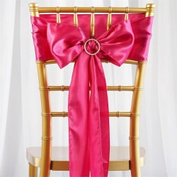 Noeud de chaise mariage satin fuchsia